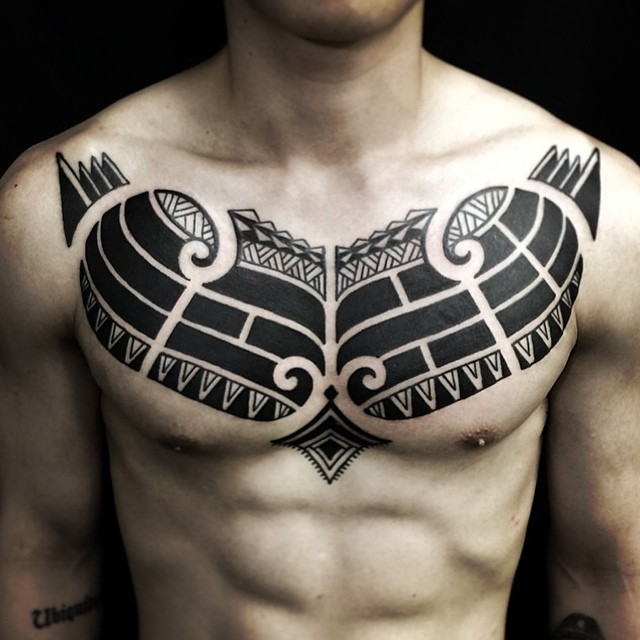 tribal chest tattoo
